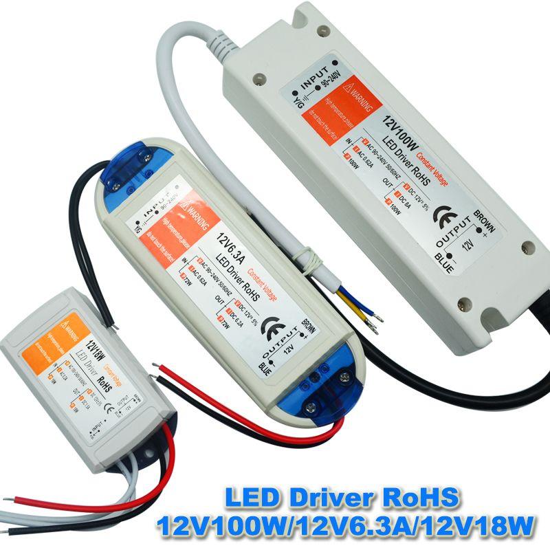 1 stücke 12 V 6.3A 72 Watt Netzteil AC/DC Led-treiber Adapter Transformator Schalter für Led-streifen RGB deckenleuchte lampe
