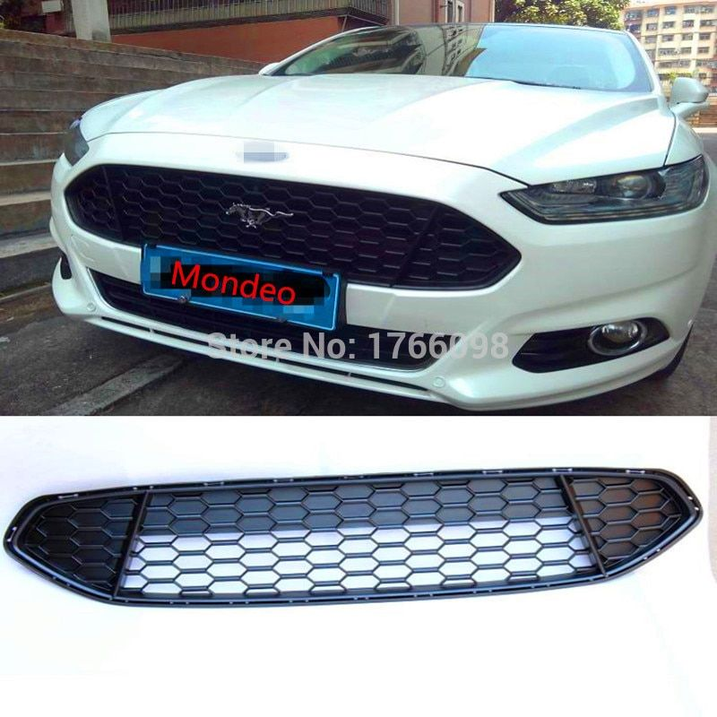 Mustang LOGO ABS Chrome Car front bumper Mesh Grille Around Trim Racing Grills Fit For Ford Mondeo 2013 2014 2015