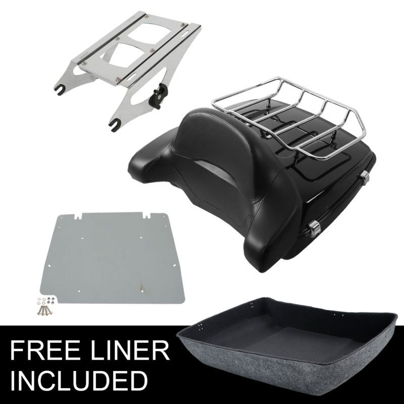 Motorcycle Chopped Tour Pak Trunk W/ Latch Mounting Rack +Backrest For Harley Touring 14-18