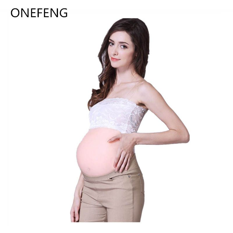 Free Shipping ONEFENG Fake Pregnant Belly 2000-3000g/pc Skin Adhesive Backside Silicone Stomach for Unisex