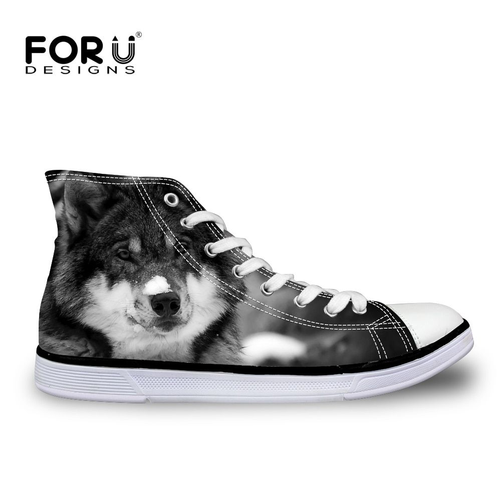 FORUDESIGNS Cool Animal Loup Motif hommes Vulcanisé Chaussures High Top Hommes Casual Toile Chaussures pour Adolescente Dentelle-up appartements Chaussures Homme