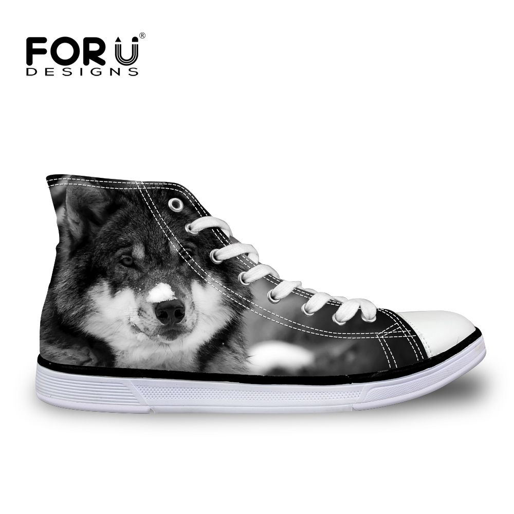 FORUDESIGNS Cool Animal Wolf Pattern Men's Vulcanized Shoes High Top Men Casual Canvas Shoes for Teenage Lace-up Flats Shoes Man