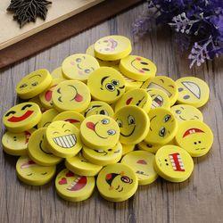 Random Type!! 20/40Pcs Emoji Shaped Rubber Pencil Eraser Students Kids Stationery Toys Prize Supplies