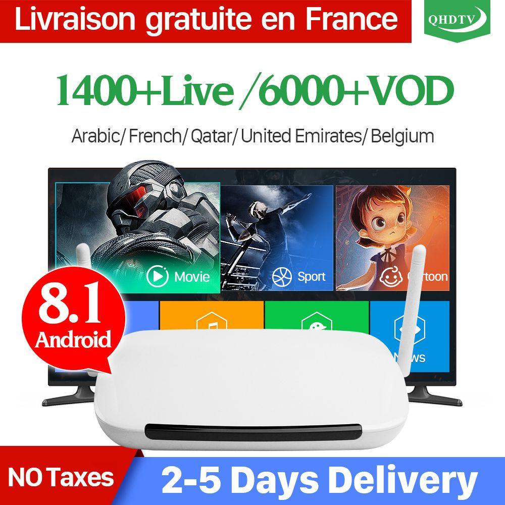 IPTV France Q9 Android 8.1 TV Box récepteur TV boîte d'iptv 1 Année QHDTV Code D'abonnement Arabe Français Belgique Pays-Bas IP TV
