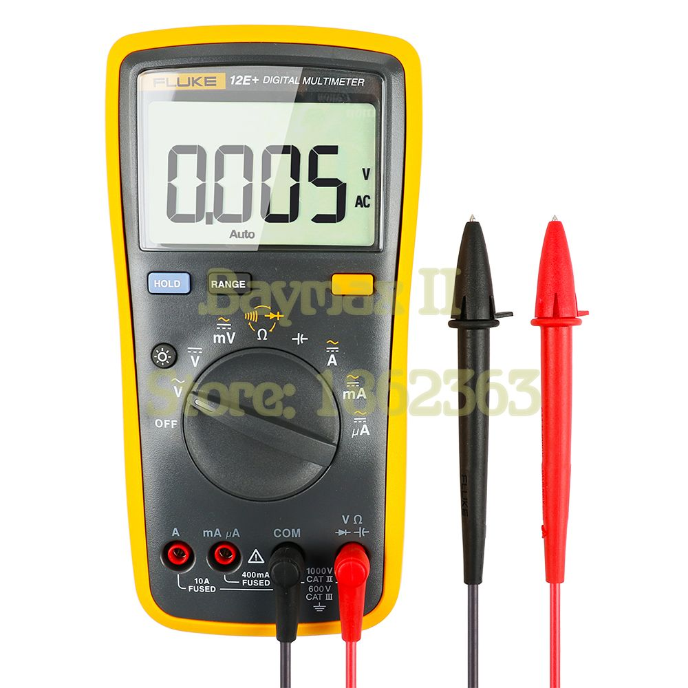Fluke 12E+ Auto Range Digital Multimeter AC/DC Voltage Current Tester with Ohm, Capacitance, Resistance Measurement & Carry Bag