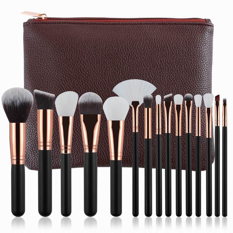 Nouveau Professionnel 15 pcs Rose D'or/Rose Maquillage Pinceaux Cosmétiques Make Up Outils Kit Poudre Fondation Yeux Brosse avec sac