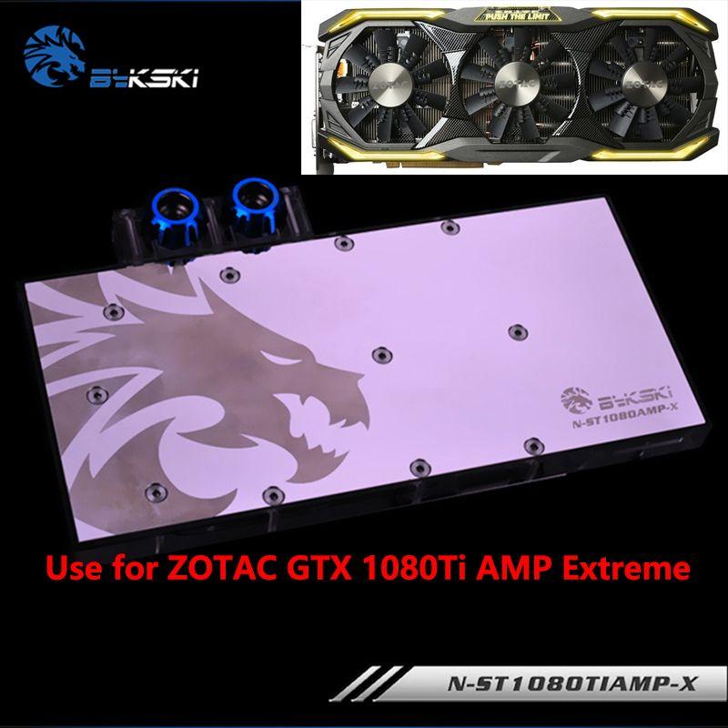 BYKSKI Full Cover Grafikkarte Wasserkühlung Block verwenden für ZOTAC GTX1070/1080/1080TI AMP Extreme Edition GPU heizkörper Block RGB