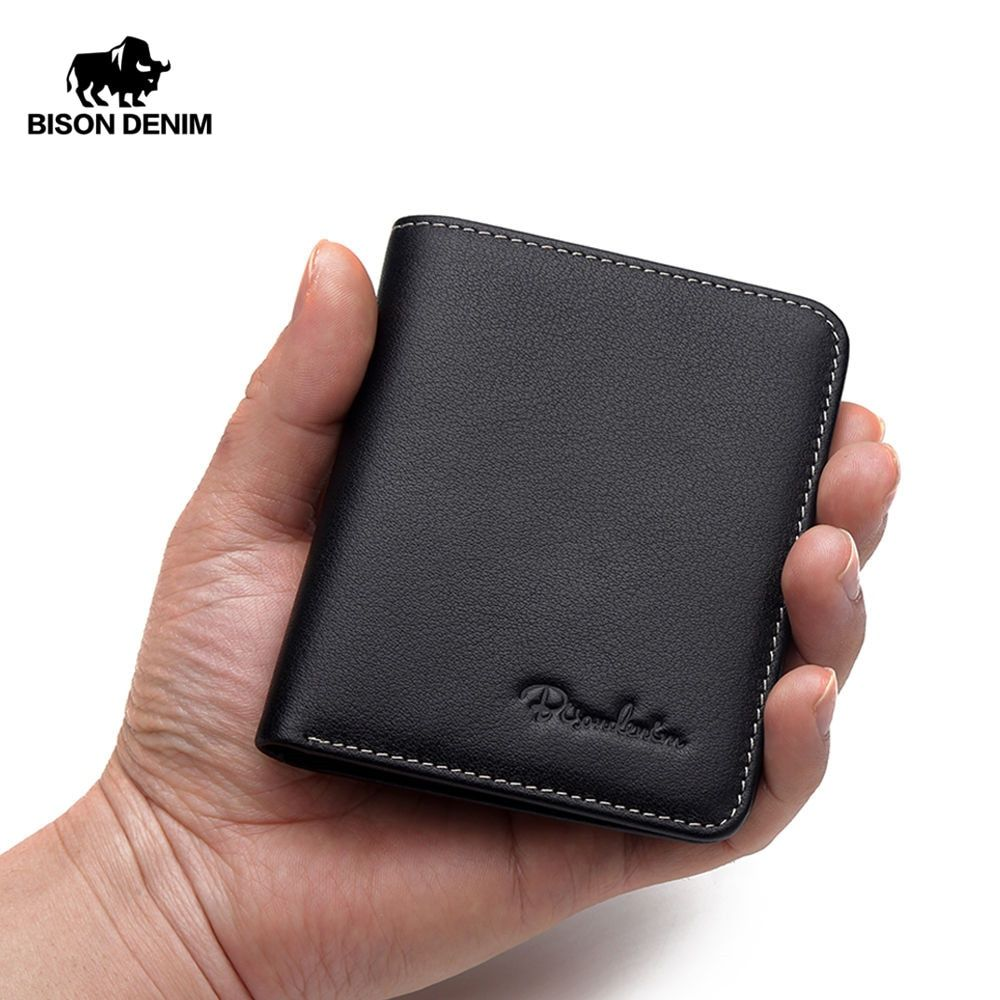 BISON DENIM Black Purse For Men Genuine Leather Men's Wallets <font><b>Thin</b></font> Male Wallet Card Holder Cowskin Soft Mini Purses N4429