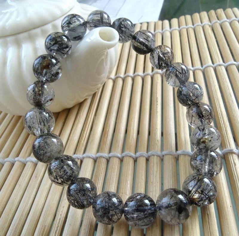 002000 natural genuine black tourmaline quartz beads bracelet