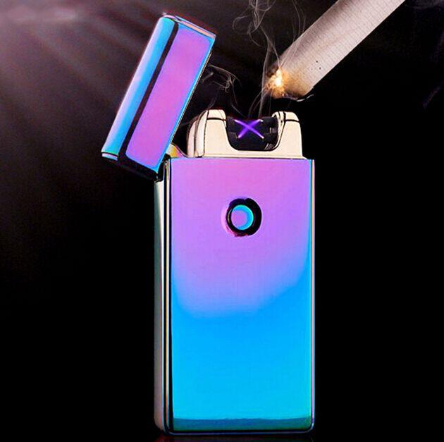 2016 Caliente Excelente 5 Estilos USB Recargable Sin Llama A Prueba de Viento Encendedor Eléctrico Doble Arco + Envío Libre