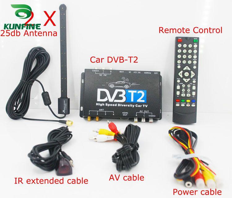 HDTV Car DVB-T2 DVB-T MULTI PLP Digital TV Receiver automobile DTV box With Two Tuner Antenna