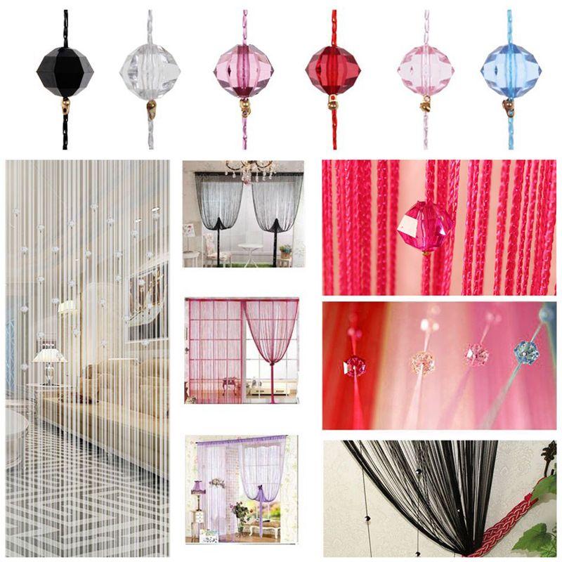 Tassel Curtain Crystal Beads Tassel Silk String <font><b>Flash</b></font> Curtain Window Door Divider Sheer Valance Door Windows Panel Home Curtains