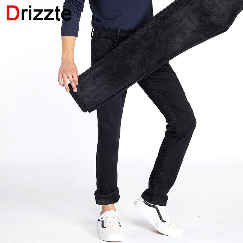 Drizzte Winter Mens Stretch Jeans Warm Fleece Flannel Lined Quality Denim Jean Pants Size 28-35-42 Brand Black Jeans for Mens
