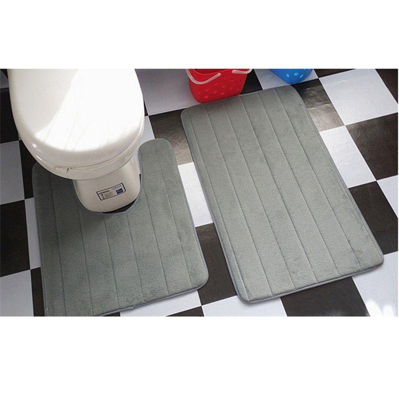 2 pièces tapis de salle de bain Simple ensemble tapis de salle de bain en forme de U tapis de toilette tapis de toilette antidérapant tapis de bain absorbant l'eau élevée tapete banheiro