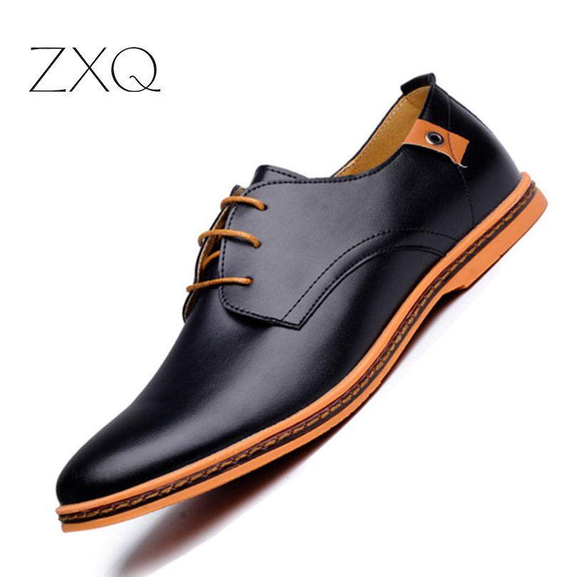 2018 cuir chaussures hommes décontractées mode chaussures plates pour homme bout rond confortable bureau hommes robe chaussures grande taille 38-48