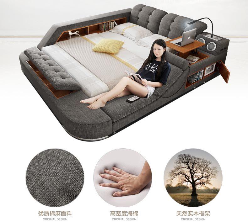 Europe and America fabric cloth bed massage Modern Soft Beds Home Bedroom Furniture cama muebles de dormitorio / camas quarto