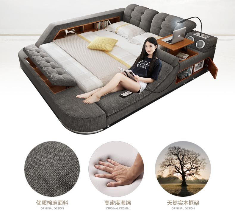 Europe and America fabric cloth bed massage Modern Soft Beds Home Bedroom Furniture cama muebles de dormitorio / camas quarto