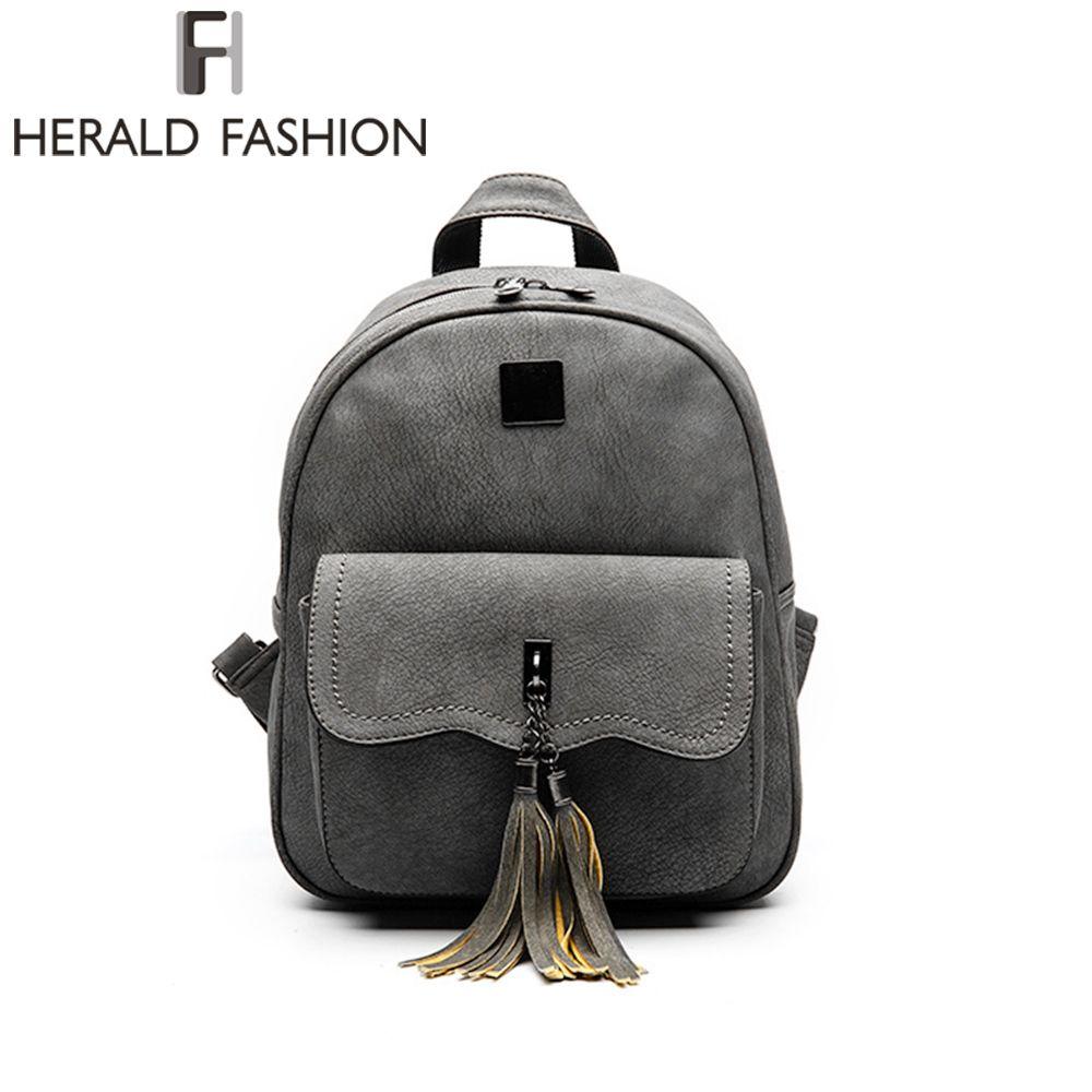 Herald Fashion Tassel Backpack Women PU Leather School Backpacks For Teenage Girls Vintage Feminine Backpack Casual Mochila