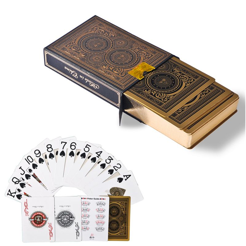 Haute qualité 56 pcs/pont étanche pvc en plastique Or bord poker cartes ensemble durable collection cartes à jouer pont magique pokers