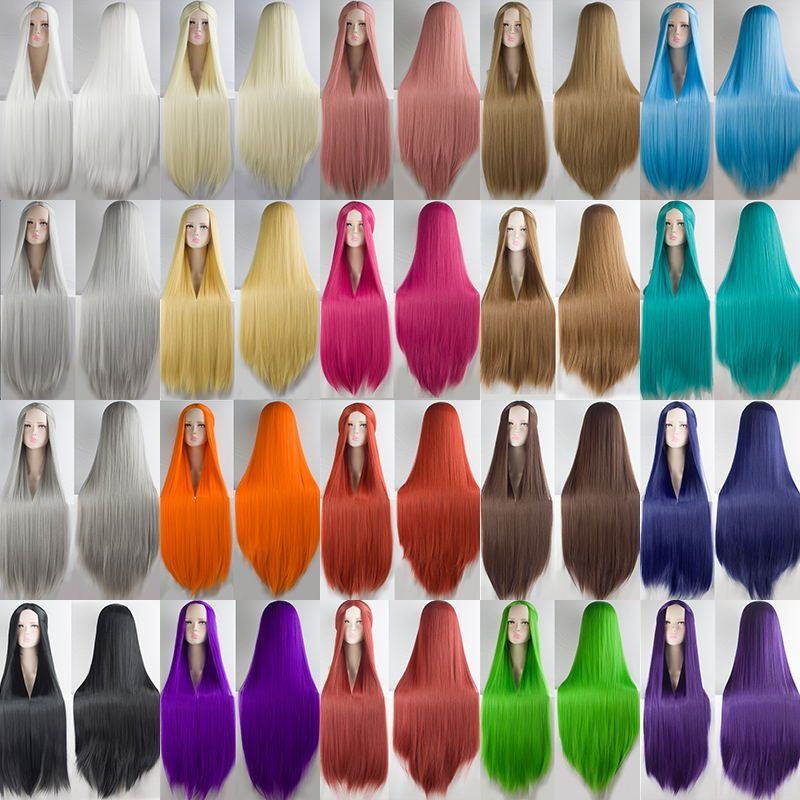 HSIU 2017 NEW 100cm Long Wigs high temperature fiber <font><b>Synthetic</b></font> Wigs Costume Cosplay Wigs Party Wigs 20 color