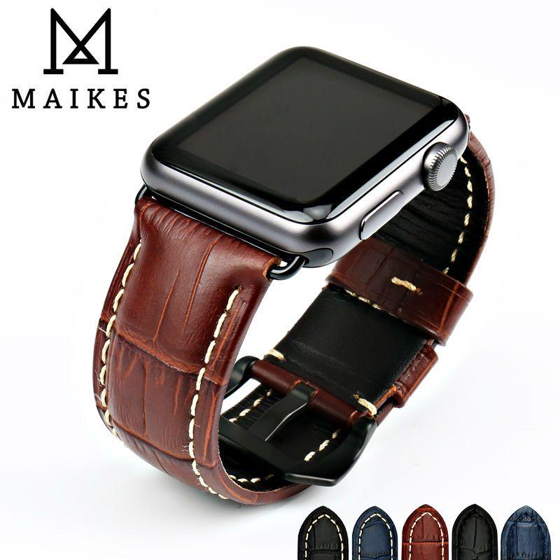 MAIKES bracelets de montre en cuir de vache véritable bracelet de montre pour Apple bracelet de montre 42mm 38mm série 4-1 iwatch 4 44mm 40mm montre bracelet