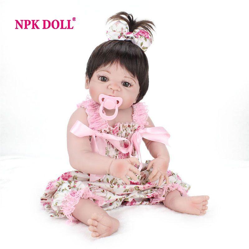 NPKDOLL 22 Inch Doll Reborn Full Vinyl Babies Doll For Girls 55 CM Realistic <font><b>Soft</b></font> Alive Reborn Baby Doll For Kids Playmate