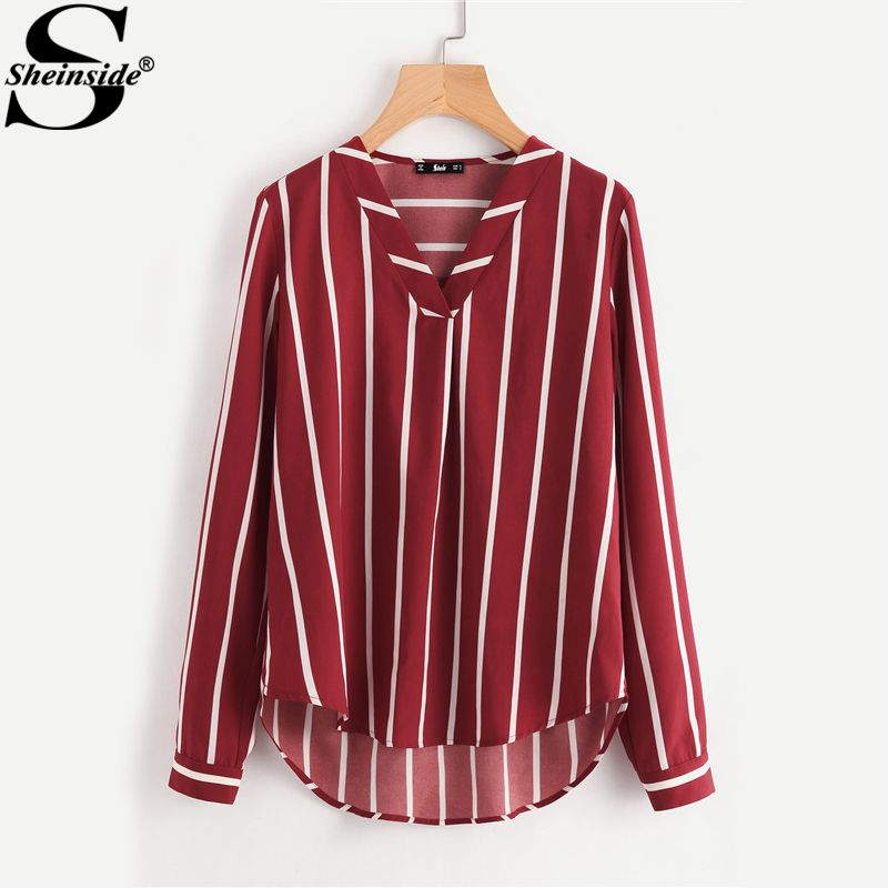 Sheinside Red Striped <font><b>Work</b></font> Shirt V-Placket Curved High Low Office Blouse Women Long Sleeve Casual Tops Summer Ladies Blouse