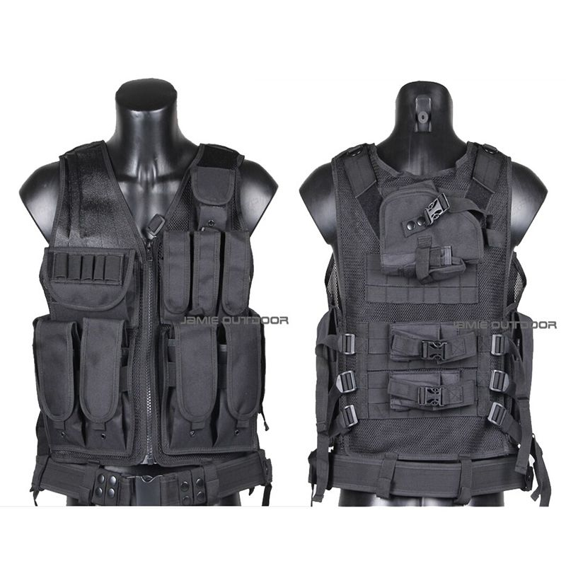 Outdoor Hunting Tactical Vest Military Army Gear Molle Vest Carrier Airsoft Combat Mesh Vest With Gun Holster AK Mag Pouch