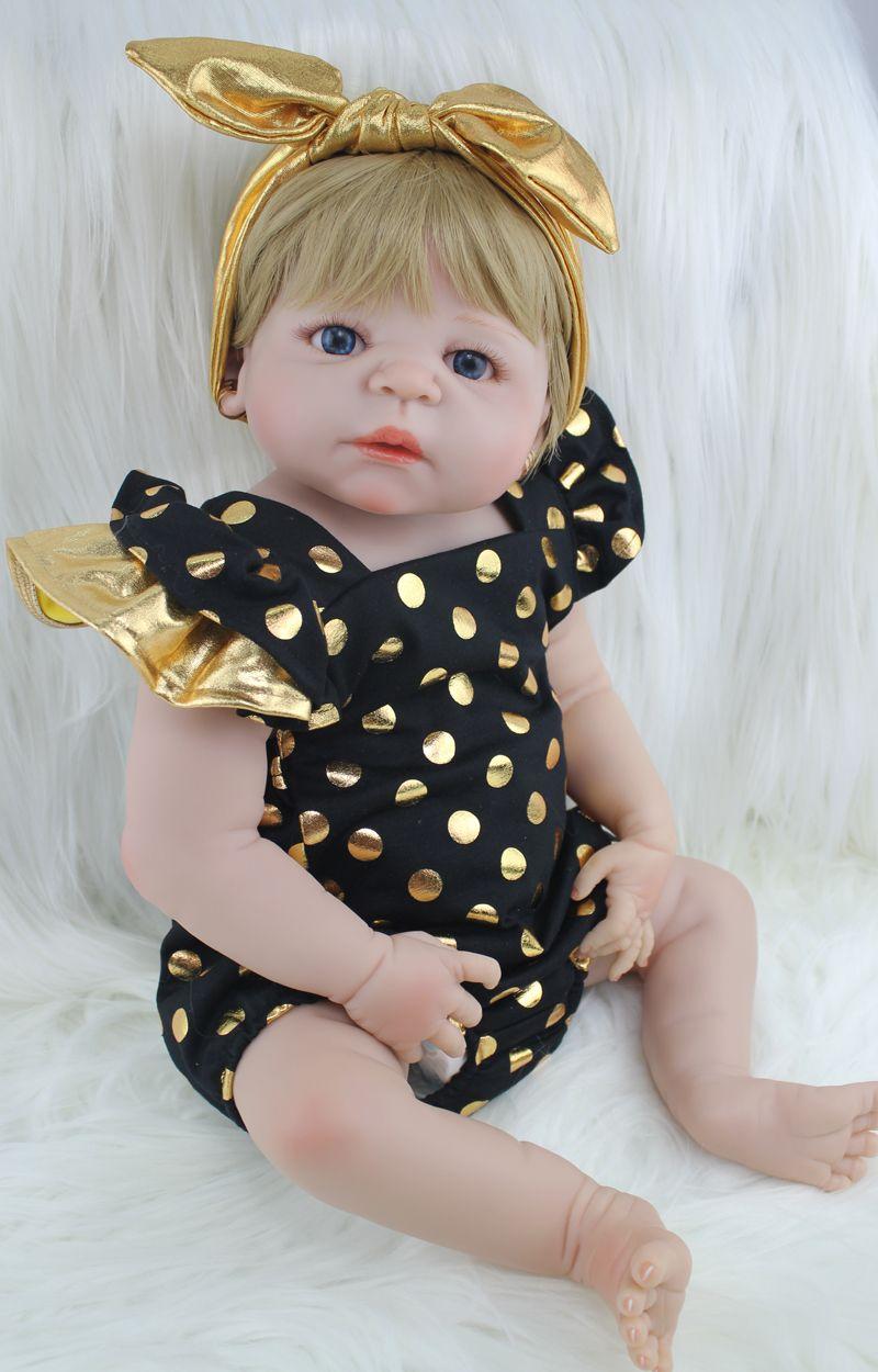 22 Full Silicone Body Reborn Girl Baby Doll Toys 55cm Newborn Princess Babies Doll Blonde Hair Birthday <font><b>Gift</b></font> Kids Brinquedos