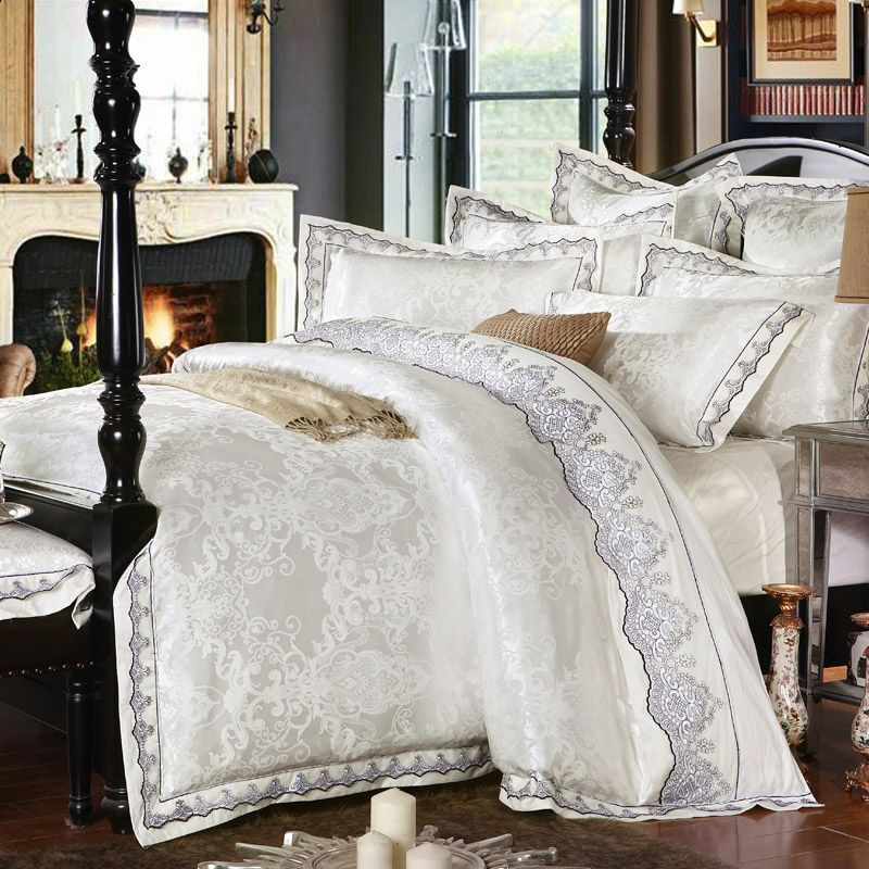 IvaRose Silk Cotton satin Luxury Jacquard Bedding Set European bed set Duvet cover Bed sheet Pillow Bed set Queen King 4/6 Pcs