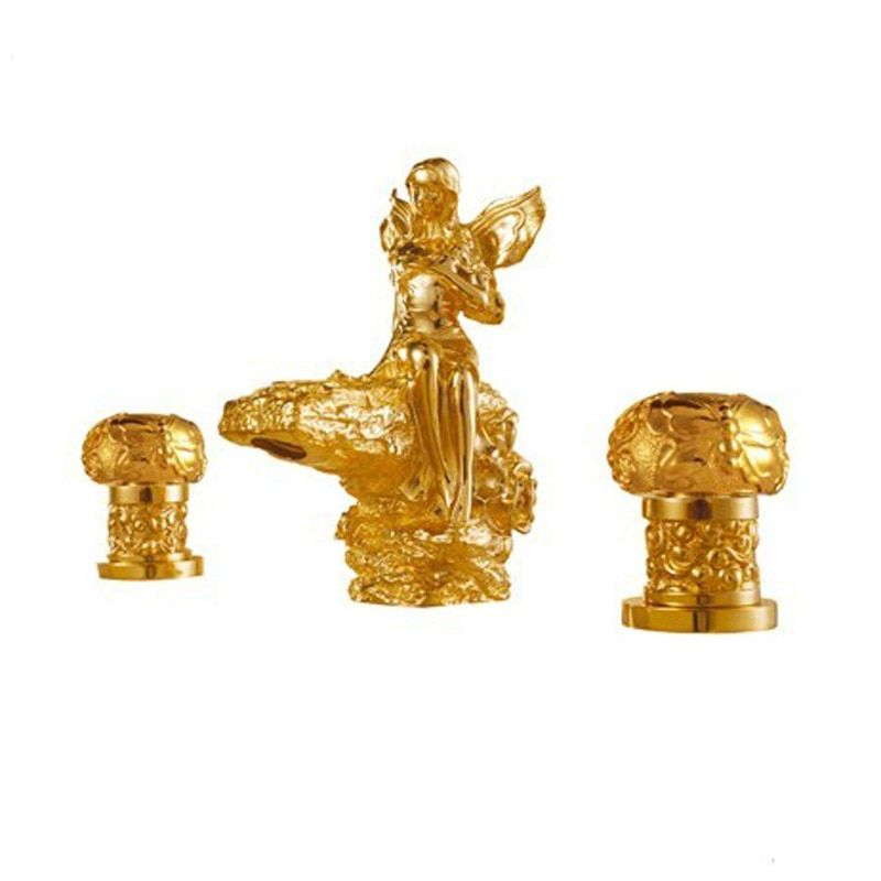 Freies verschiffen gold finish 3 Stücke Verbreitet gegenbassintoilette waschbecken RÖMISCHEN schöne mädchen waschbecken wasserhahn Flower fairy mischbatterie