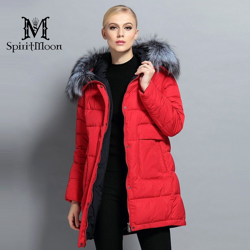 SpiritMoon 2017 New Winter Women Down Parka Hooded Warm Down Jacket Female Thickening Coat With Silver Fox Collar Plus Size 5XL