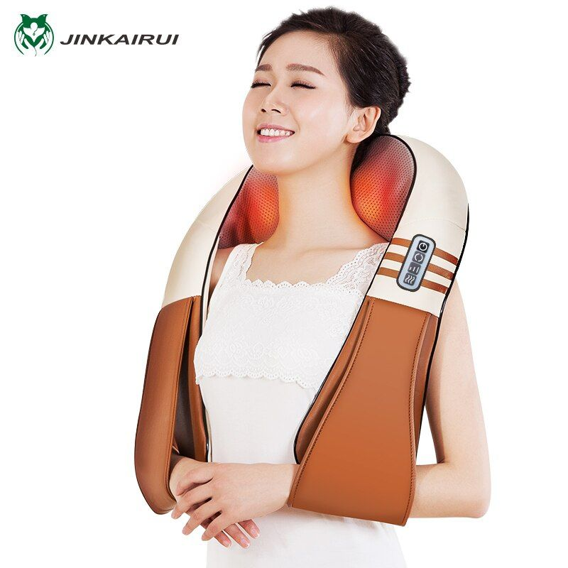 (with Gift Box)JinKaiRui U Shape Electrical Shiatsu Back Neck Shoulder Body <font><b>Massager</b></font> Infrared Heated Kneading Car/Home Massagem