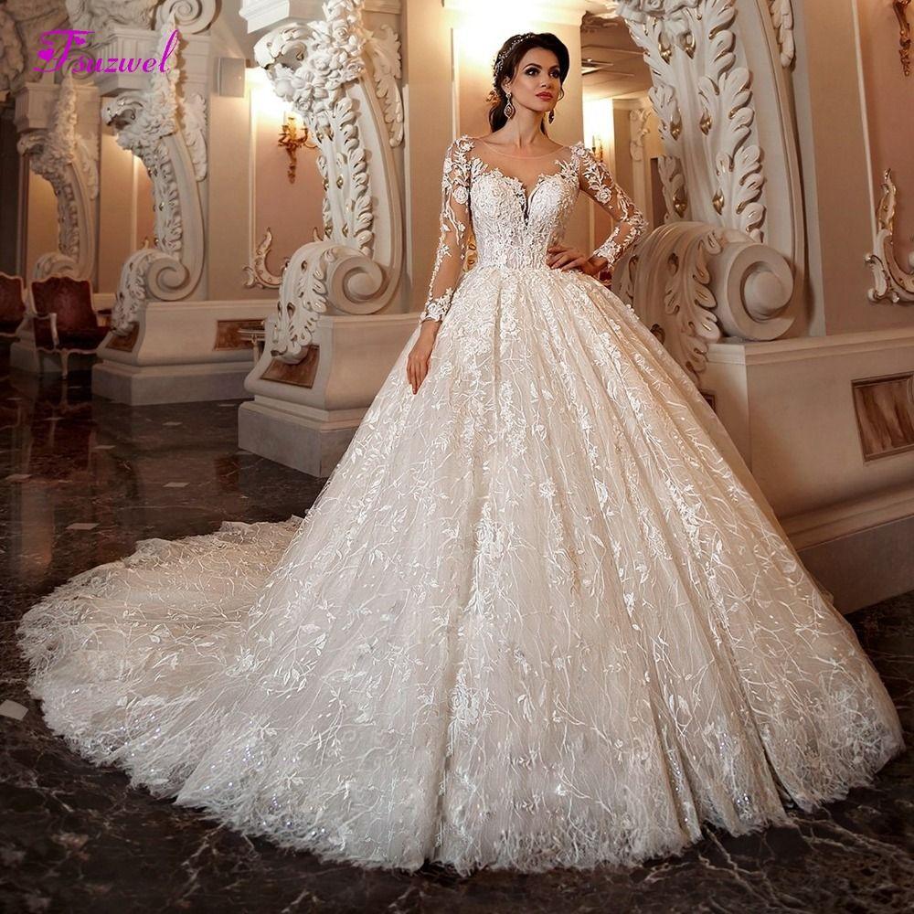 Fsuzwel Wunderschöne Appliques Kapelle Zug Spitze Ballkleid Hochzeit Kleid 2019 Sexy Scoop Neck Langarm Perlen Prinzessin Braut Kleid