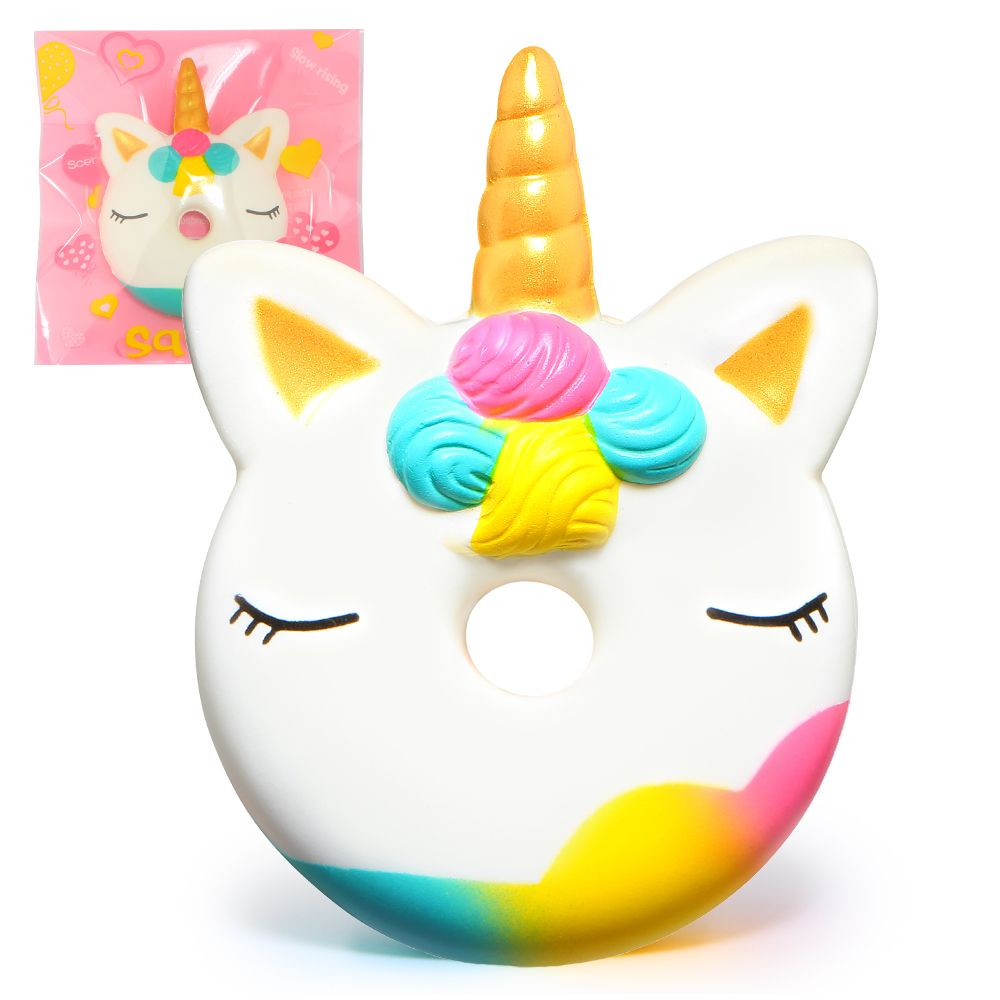 Jumbo Unicorn Donut Squishy Cake Bread Squishies Cream Scented Slow Rising Squeeze Toy Original Package