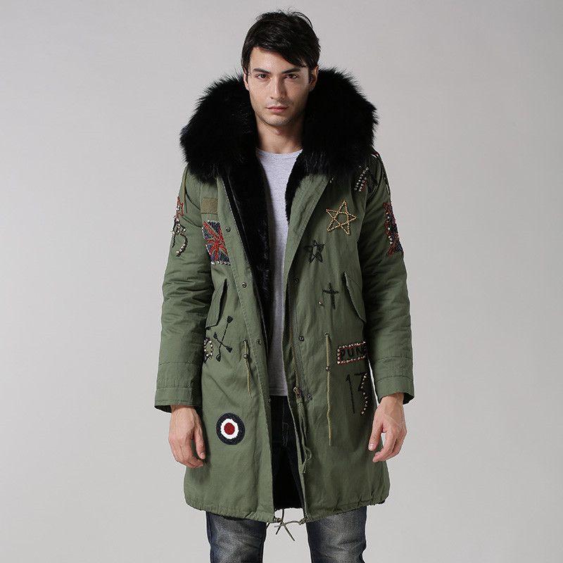 UK style armee-grün mantel schwarz innen lange jacke real big waschbären pelzkragen mit faux pelzbesatz perlen haube männer fell parka