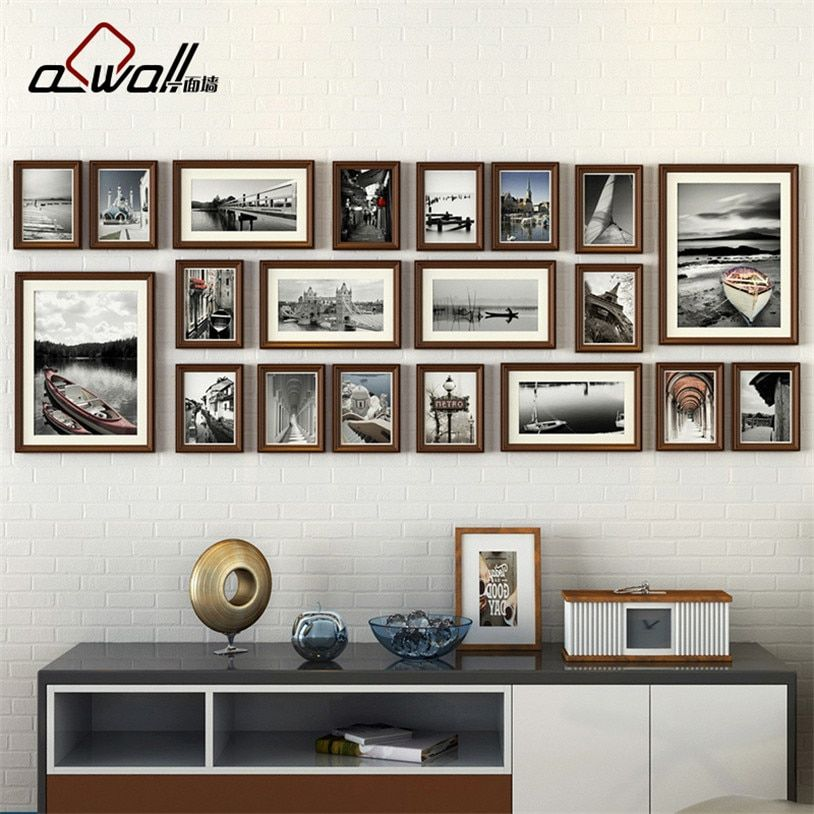 Wood Photo Frames Collage Picture Frame Photo Frames Wall Set European Frame for Pictures Porta Retrato Moldura 20 Pieces/set
