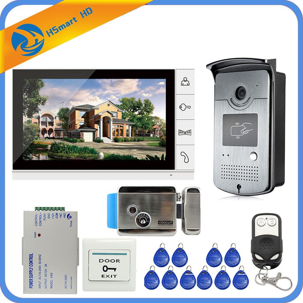 New Wired 9 inch Video Door Phone Intercom Entry System 1 Monitor + 1 RFID Access IR 700TVL Camera + Electric Control Door Lock