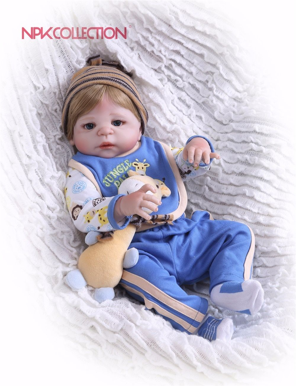 NPKCOLLECTION New design Doll Full Silicone Body Lifelike Bebe Reborn Prince Doll Handmade Baby Toy Xmas Gifts