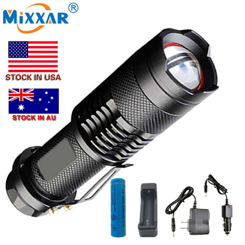 Mixxar L2 7000LM led lampes de Poche Étanche 5-modes lanterne tactique Torche Avec un 18650 5000 mah Batterie et chargeurs