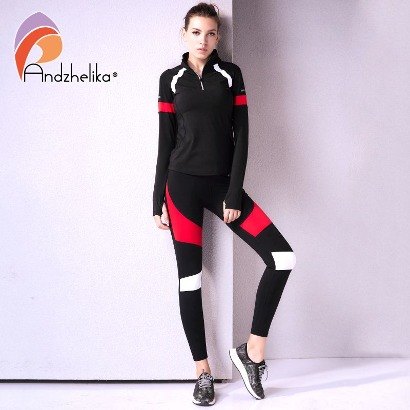 Andzhelika Women's Sport Suit Fitness 2 Piece Yoga Sets Jogging Breathable Suits Long Sleeve Yoga Shirts Top+ Slim Running Pants