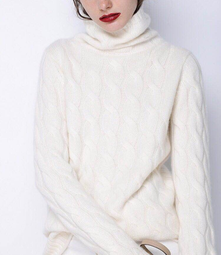 2018 Autumn and Winter Women's high collar cashmere sweater thick twist bottoming shirt solid color knit loose sweater