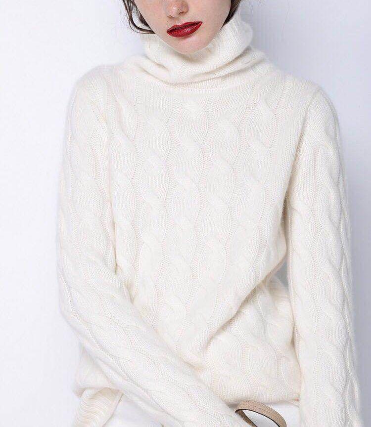 2018 herbst und Winter frauen hohe kragen kaschmir pullover dicken twist bodenbildung shirt einfarbig stricken lose pullover