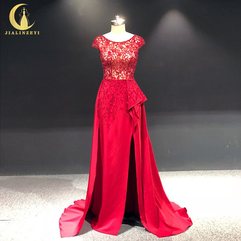 JIALINZEYI Real Sample Picture Red Cap Sleeves Beads Slit Satin Fashion vestidos de novia Dress for Party Evening Dresses