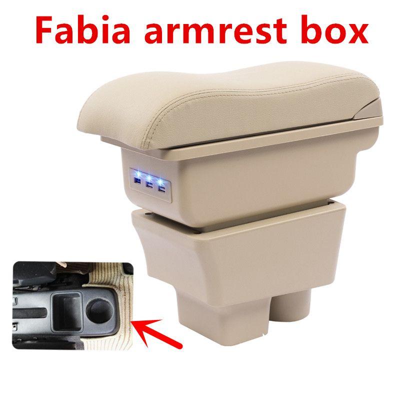 Pour Skoda Fabia 2008-2014accoudoir boîte de rangement de Center de voiture avec support de verre repose-bras rotatif accessoires d'intérieur de voiture