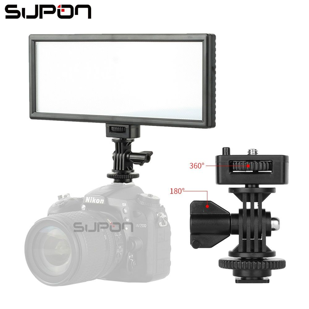 SUPON L132T LED On-Camera Video Light Ultra Thin LCD Bi-Color & Dimmable Photo Studio LED Lighting Lamp Panel for Photography