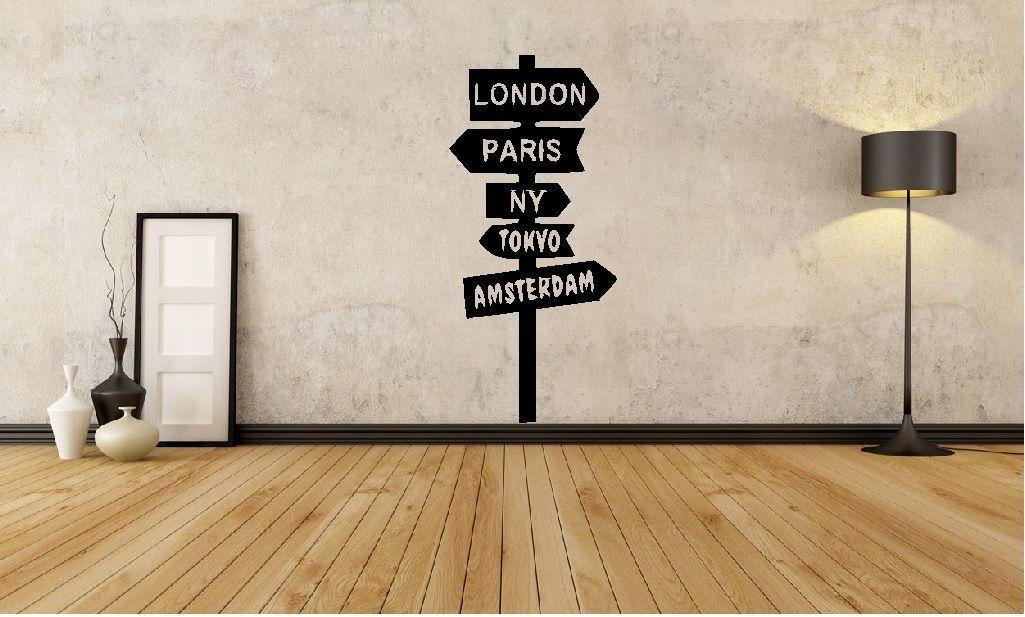 HWHD Monde Signe Après Londres New York Mur Art Decal Accueil Voyage Autocollant Nouveau livraison gratuite