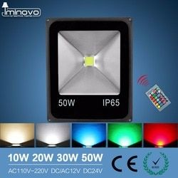 Luz de inundación del Led al aire libre proyector 10 W 20 W 30 W 50 W arandela de la pared lámpara Reflector IP65 impermeable jardín 220 V RGB iluminación