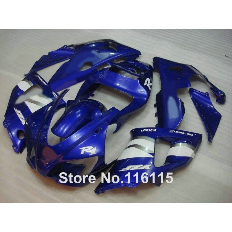 Full injection fairing kit fit for YAMAHA R1 1998 1999 YZF R1 blue white ABS fairings set YZF-R1 98 99 1252