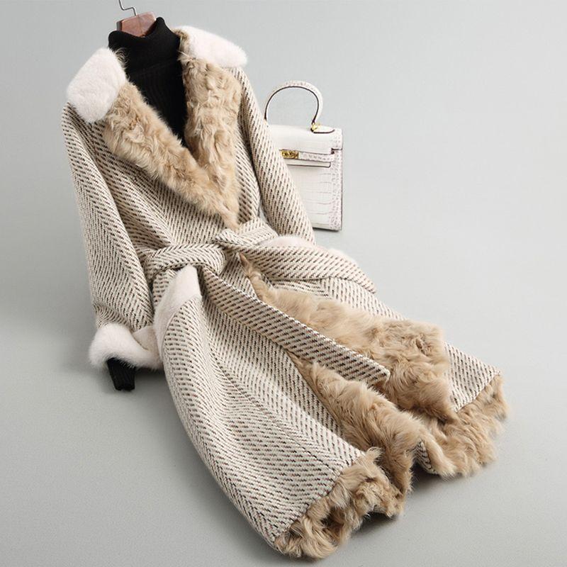 2018 new Arrival Luxury Women's Real Fur Cloak Woolen coat with mink fur Natural Lamb Fur Lining Top Coat rf0141